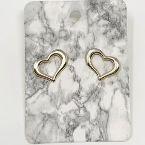New Heart Shaped Gold Tone Earrings Boutique
